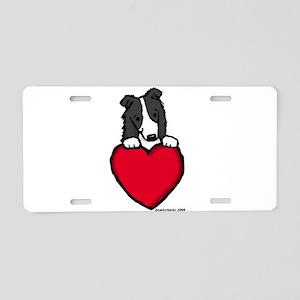 Black Border Collie Valentine Aluminum License Pla