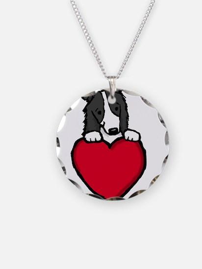 Black Border Collie Valentine Necklace