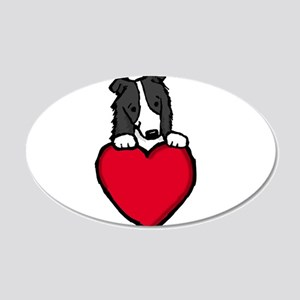 Black Border Collie Valentine 22x14 Oval Wall Peel
