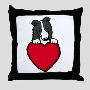 Black Border Collie Valentine Throw Pillow