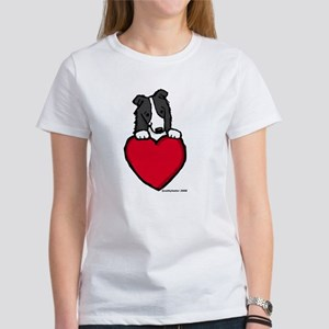 Black Border Collie Valentine Women's T-Shirt