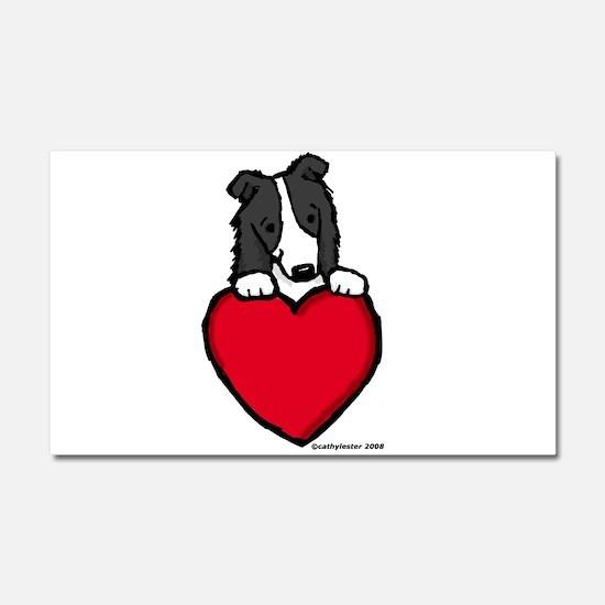 Black Border Collie Valentine Car Magnet 20 x 12