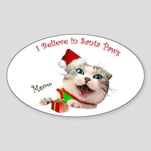 I Believe in Santa Paws Sticker (Oval)