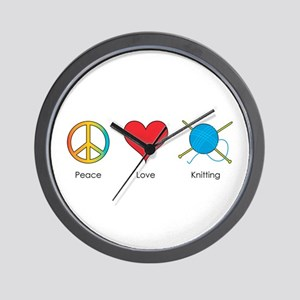Peace Love Knitting Wall Clock