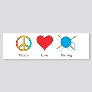 Peace Love Knitting Bumper Sticker