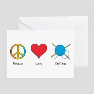 Peace Love Knitting Greeting Cards (Pk of 10)