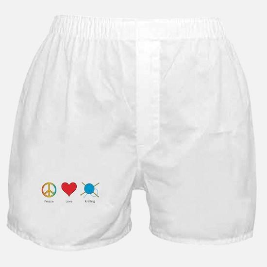 Peace Love Knitting Boxer Shorts