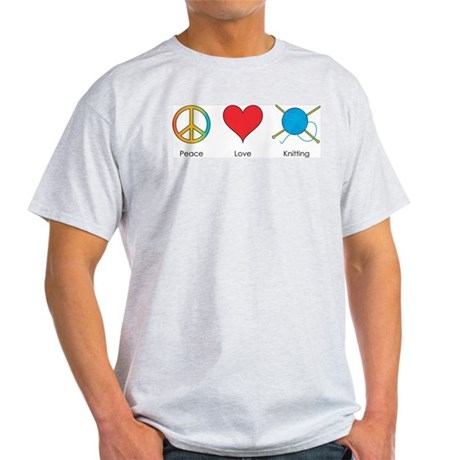 Peace Love Knitting Ash Grey T-Shirt