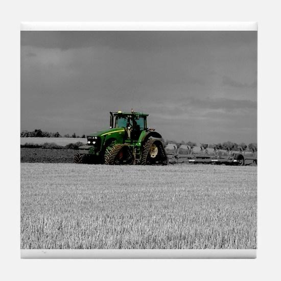 Cute Green tractor Tile Coaster