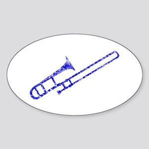 Worn, Blue Trombone Sticker (Oval)