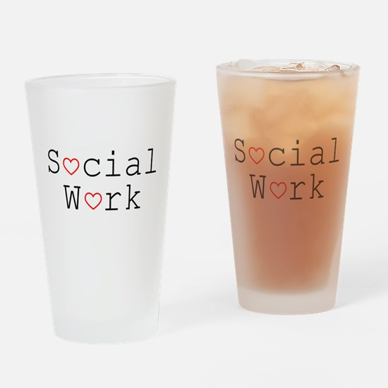 Social Work Hearts Drinking Glass