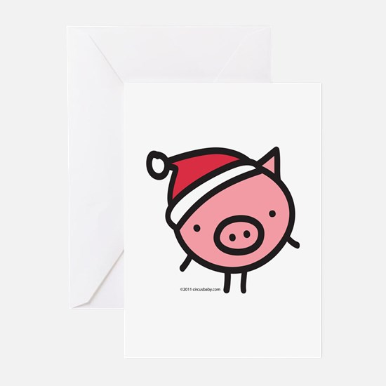 Cute Santa Pig Greeting Cards (Pk of 10)