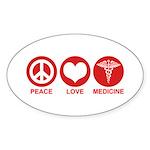 Peace Love Medicine Sticker (Oval)