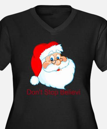 Don't Stop Believin' Women's Plus Size V-Neck Dark