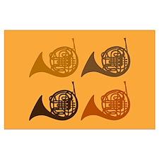 French Horn Quartet Large Poster