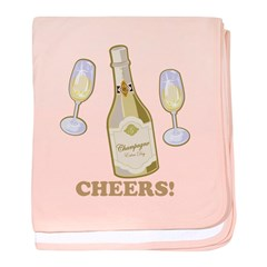 Cheers Champagne baby blanket