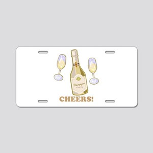 Cheers Champagne Aluminum License Plate