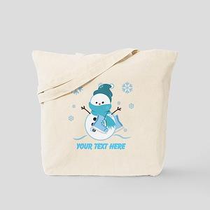 Cute Personalized Snowman Tote Bag