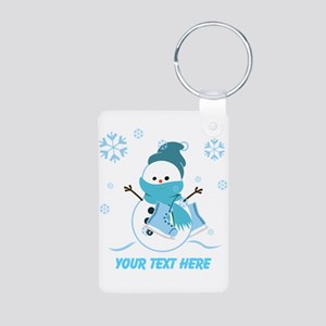 Cute Personalized Snowman Aluminum Photo Keychain