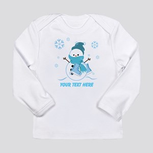 Cute Personalized Snowman Long Sleeve Infant T-Shi