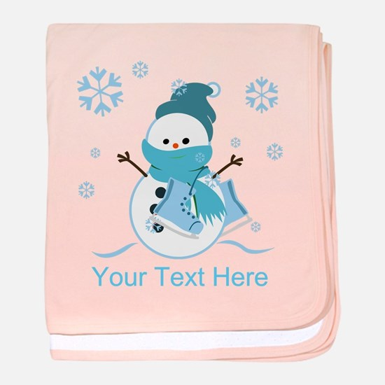 Cute Personalized Snowman baby blanket