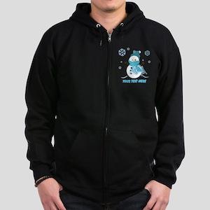 Cute Personalized Snowman Zip Hoodie (dark)