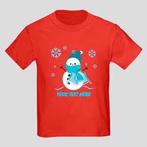 Cute Personalized Snowman Kids Dark T-Shirt