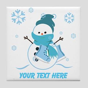 Cute Personalized Snowman Tile Coaster
