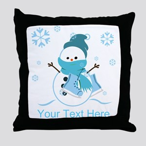Cute Personalized Snowman Throw Pillow