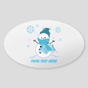 Cute Personalized Snowman Sticker (Oval)