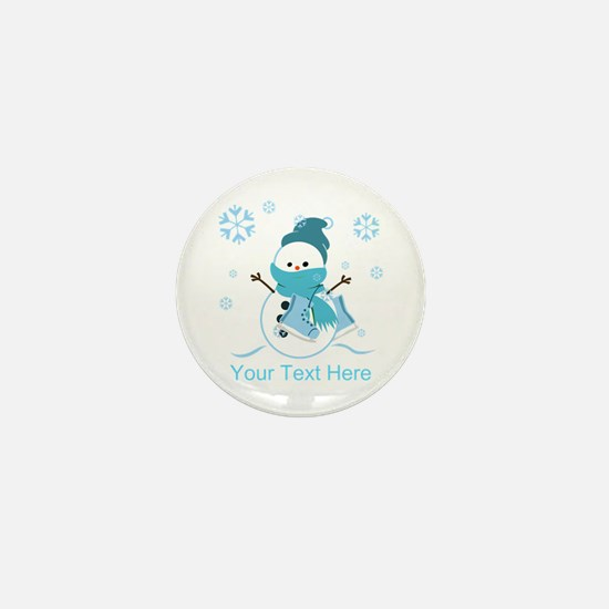 Cute Personalized Snowman Mini Button