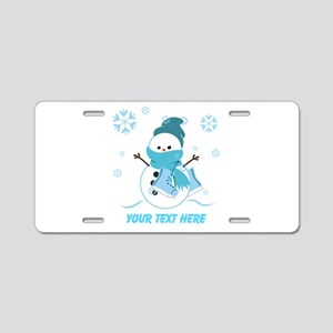 Cute Personalized Snowman Aluminum License Plate