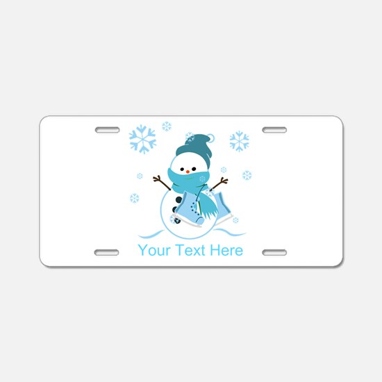 Cute Personalized Snowman Aluminum License Plate