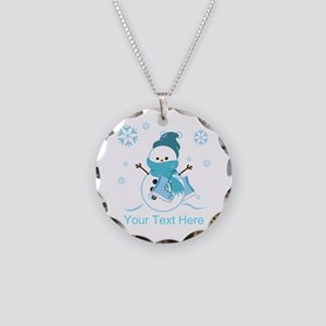Cute Personalized Snowman Necklace Circle Charm
