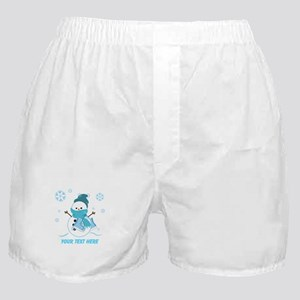 Cute Personalized Snowman Boxer Shorts