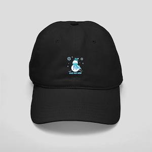 Cute Personalized Snowman Black Cap
