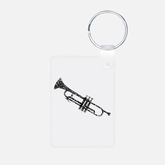 Trumpet, Vintage Aluminum Photo Keychain