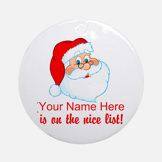 Personalized Nice List Ornament (Round)