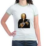 J.S. Bach on Mandolin Jr. Ringer T-Shirt