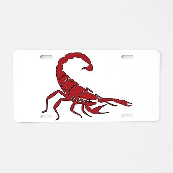 Red Scorpion Aluminum License Plate