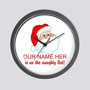 Personalized Naughty List Wall Clock