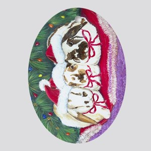 Santa Rabbits Ornament (Oval)