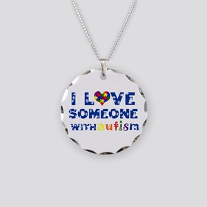 I love someone with Autism Necklace Circle Charm