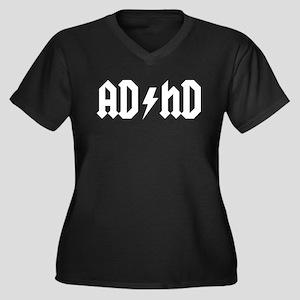"""AD/HD"" Women's Plus Size V-Neck Dark T-Shirt"