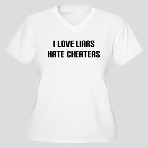 """""""Hate Cheaters"""" Women's Plus Size V-Neck T-Shirt"""