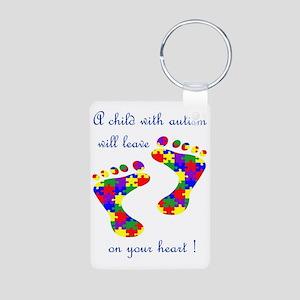 Footprints on your heart Aluminum Photo Keychain