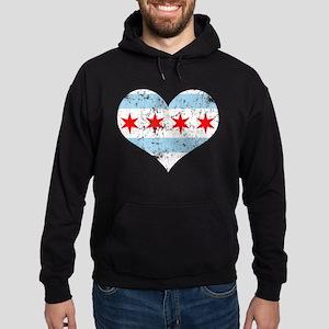 Chicago Flag Heart Hoodie (dark)