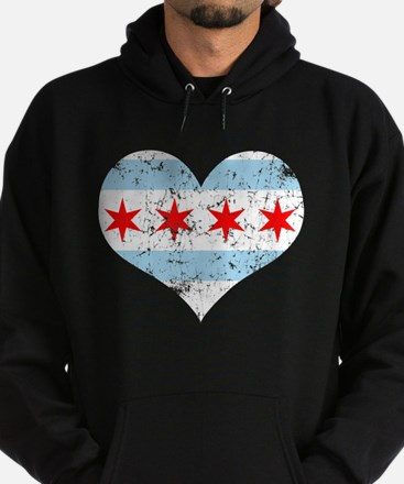 Chicago Flag Heart Hoodie (dark)
