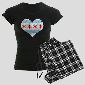 Chicago Flag Heart Women's Dark Pajamas