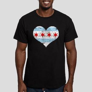Chicago Flag Heart Men's Fitted T-Shirt (dark)